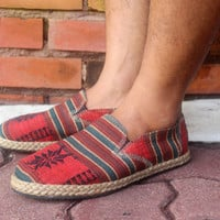 Tribal Mens Vegan Loafer Shoe in Ethnic Naga Embroidery
