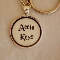 Harry Potter Accio Keys Keychain. Harry Potter Inspired Keychain. Silver Tone keychain.