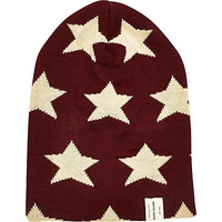 Dark red stars beanie hat - hats - accessories - men
