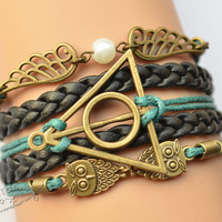 Brass Harry Potter, Owl and Wing Charms Leather Bracelet, Teal, Gift, Friendship Bracelet