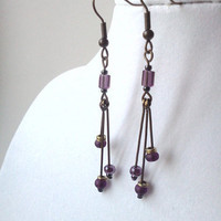 Amethyst and antique brass spike dangle earrings by PinkCupcakeJC