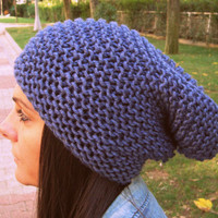 Denim melange color hat,blue hat,woman slouchy beanie,man hat,unisex hat,beanie,knitting hat,