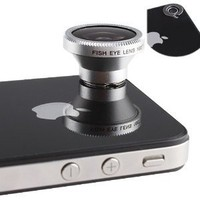 Magnetic 180 Degree Angle Fisheye (0.28X) Lens Designed for Apple iPhone 4 4S iPod Nano 4G iPad