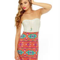 Cute Southwest Print Dress - Strapless Dress - Body Con Dress - 