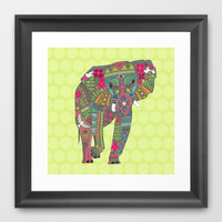 painted elephant chartreuse dot Framed Art Print by Sharon Turner