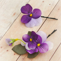 Purple hair accessory, floral bobby pins, woodland hair pins - Pansy