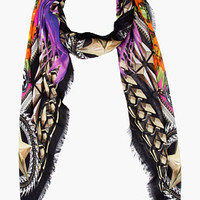 Givenchy Black Multicolor Birds Of Paradise Scarf for women | SSENSE