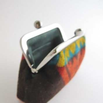 Frame Coin Purse- mini jewelry case with ring pillow -tribal geometric knit