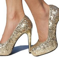 Gold Sequin Pump Platform High Heel Pump