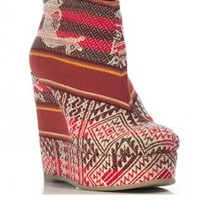 Red Tribal Printed Wedge Booties