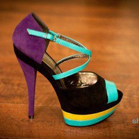 Wild Rose Dinah-33 Black Multi Colorblock Platform Peeptoe Heel