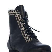 Black Leather Oxford Boots with Tribal Trim Detail