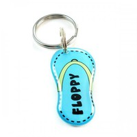 Bright Blue Summer Flip Flop Pet ID Tag | metamorphdesigns - Pets on ArtFire