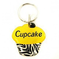 Yellow Zebra Print Cupcake Pet Id Tag - Happy Tags