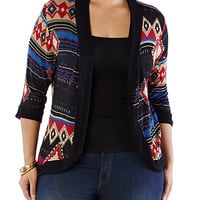 Plus-Size Sheer Aztec Cardigan - Rainbow