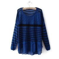 Long Sleeve Striped Contrast Chiffon Sweater Blue