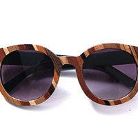 Mama's Quilt - Women's Patchwork Wood Veneer Sunglasses