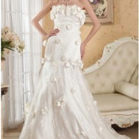 Floral Strapless Chapel Train Lace Maternity Wedding Dress