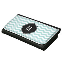 Tiffany Blue & White Chevron Pattern Wallets For Women