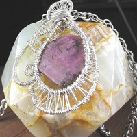 Sapphire Sterling Fine Silver Pendant Mauve Dark Gold Color Change
