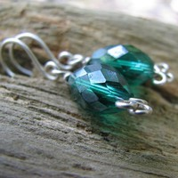 Green Crystal Necklace And Earrings Set, Handmade Sterling Silver