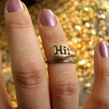Hi speech bubble midi ring