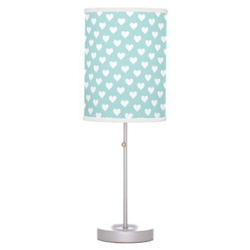 Tiffany Blue & White Heart Pattern Desk Lamp