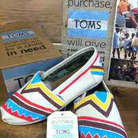 Aztec Customized TOMS by fawcettme on Etsy