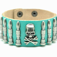 Green Real Leather Bracelet with Bullet Rivet Women Jewelry Bangle Fashion Bracelet, Men bracelet   C015