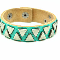 Green Real Leather Bracelet with Rivet Women Jewelry Bangle Fashion Bracelet, Men bracelet   C028
