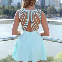 Blue Sleeveless Dress with Lattice Open Back