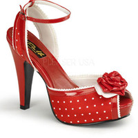 Red and White Polka Dot Peep Toe Shoes - Please USA Style# BETTIE 06
