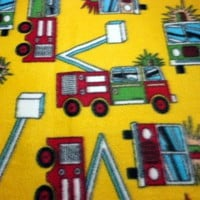 Blanket Fire Trucks Fireman Baby Handmade Fleece Soft Warm Boy Infant