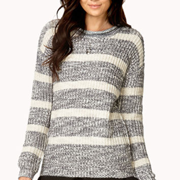 FOREVER 21 Heathered Stripe Sweater Burgundy/Black