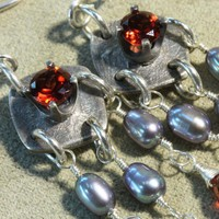 Garnet & Silver Grey Pearl Chandelier Earrings | PrairieWillow - Jewelry on ArtFire