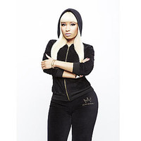 Nicki Minaj- -Women's Velour Hoodie Jacket - Logo-Clothing-Women's-Jackets & Blazers