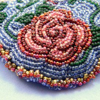 Bead Embroidered Rose Necklace | llrodenjewelry - Jewelry on ArtFire