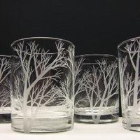 4 Drinking Glasses Double Old Fashioned Hand by daydreemdesigns