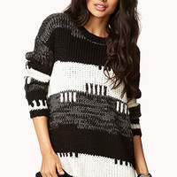Striped Cable Knit Boyfriend Sweater