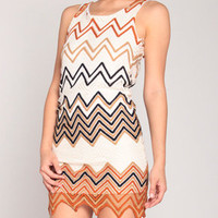 Ziggy Knit Peepback Dress in Toffee