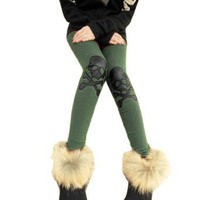 Allegra K Women Skull Cross Accent Elastic Waist Stretchy Leggings Olive Green XS
