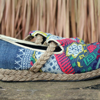 Womens Loafer In Colorful Laos Embroidery Vegan Shoes