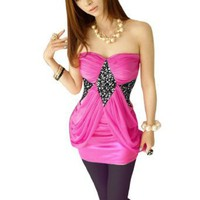 Allegra K Ladies Strapless Padded Bust Sequin Decor Mini Dress Fuchsia XS