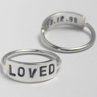 PERSONALIZED Sterling Silver Hand-stamped two-sided WORD ring with Date, 925 stack ring with Poetic/Inspiring word. Customized.