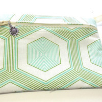 Hexagons Change Purse Cosmetic Bag Makeup Bag Zip Purse