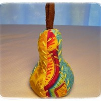 Pear Pin Cushion Bright Colorful Yellow Turquoise Handmade Pincushion