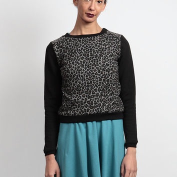 Leopard Print 'Edition' Contrast Sleeve Jumper