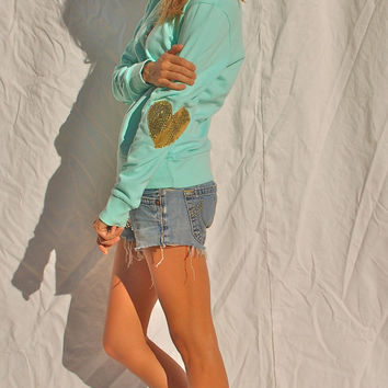 """Dazzle Heart"" Sequin Heart Elbow Patch Sweatshirt - Tiffany Blue/Gold - Love & Bambii - Women's Bohemian Fashion ☮ + ♥"