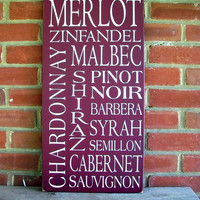 Types of Wine Wood Typography Sign by CountryWorkshop on Etsy