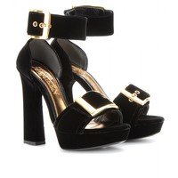 mytheresa.com -  Velvet platform pumps - Luxury Fashion for Women / Designer clothing, shoes, bags